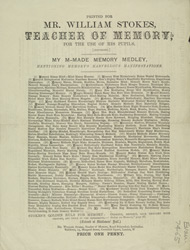 Advert for Mr William Stokes, teacher of Memory Systems